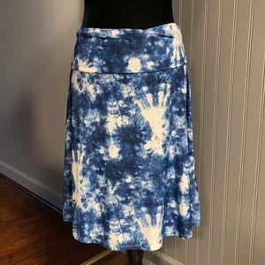LuLaRoe Azure Tie Dye Print A-Line Swing Skirt